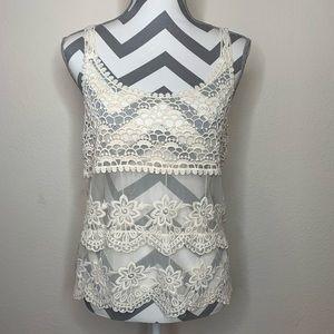 Zara Crochet Sheer Cream Tank Top Size M